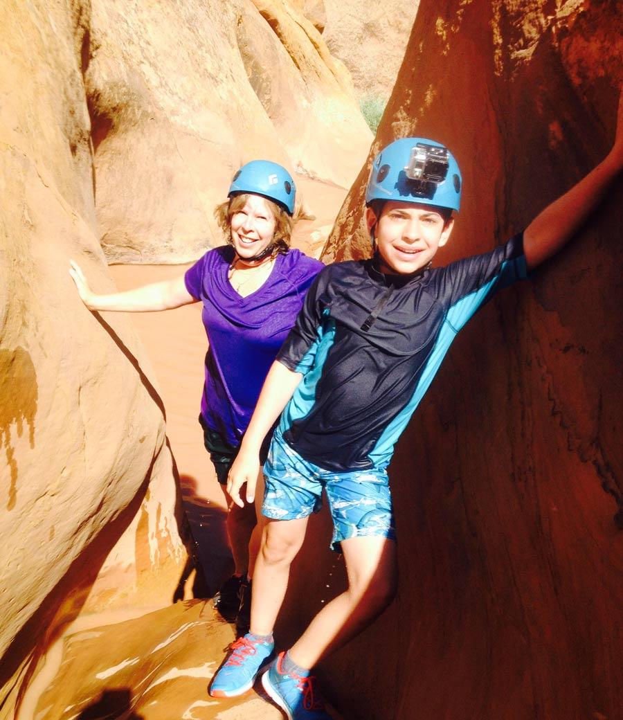 Brandi Burzuto hiking with her son