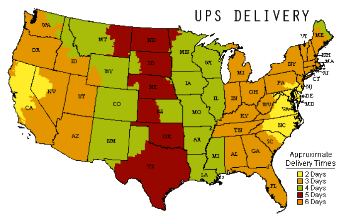 UPS ZONES Shipping Map
